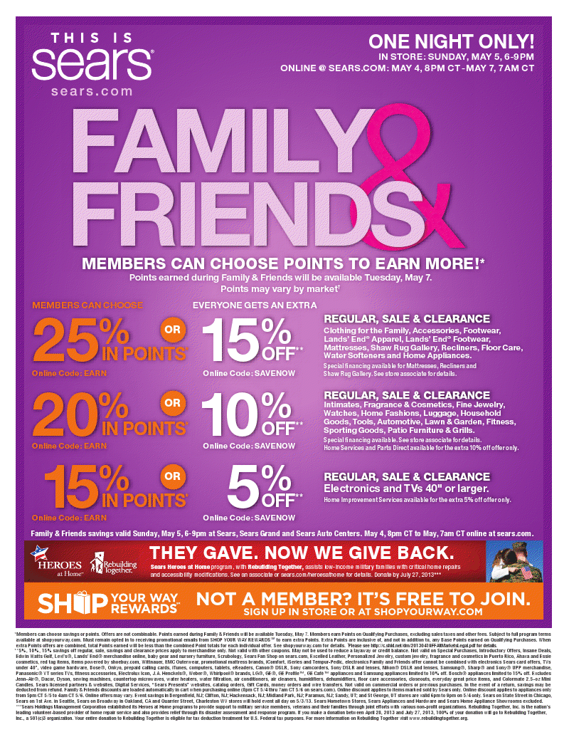 b9dcff99f56 Sears Family   Friends Sale ~ ONE DAY ONLY ~ May 5th - Living Smart Girl