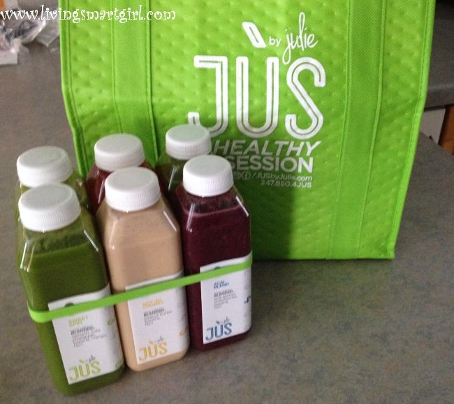 Jus by Julie bag and bottles
